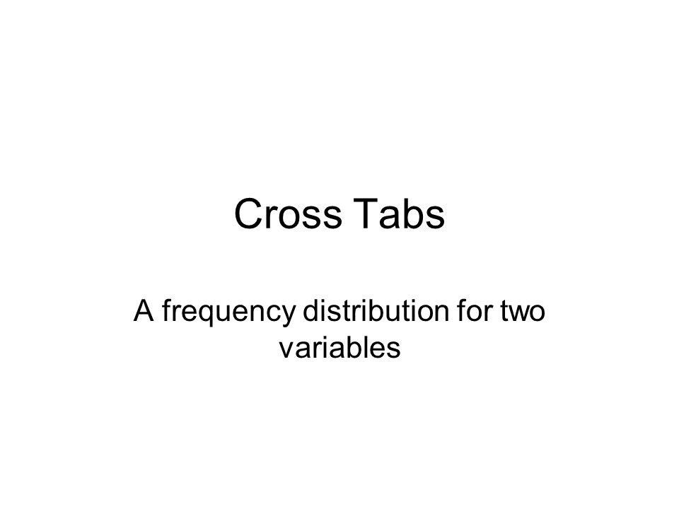 A frequency distribution for two variables