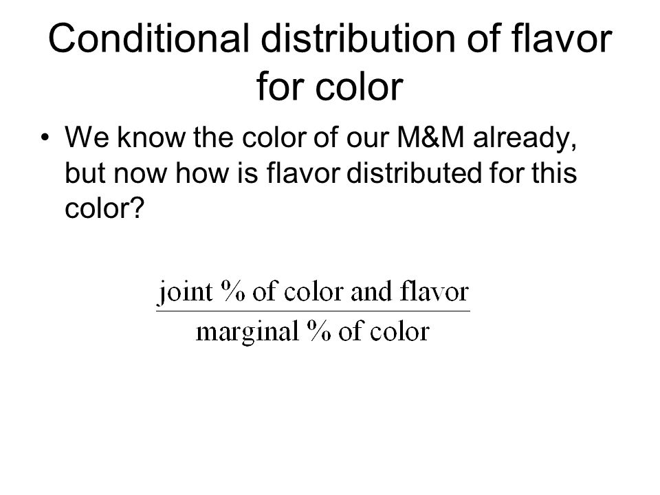 Conditional distribution of flavor for color