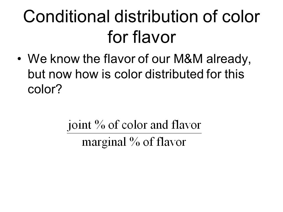 Conditional distribution of color for flavor