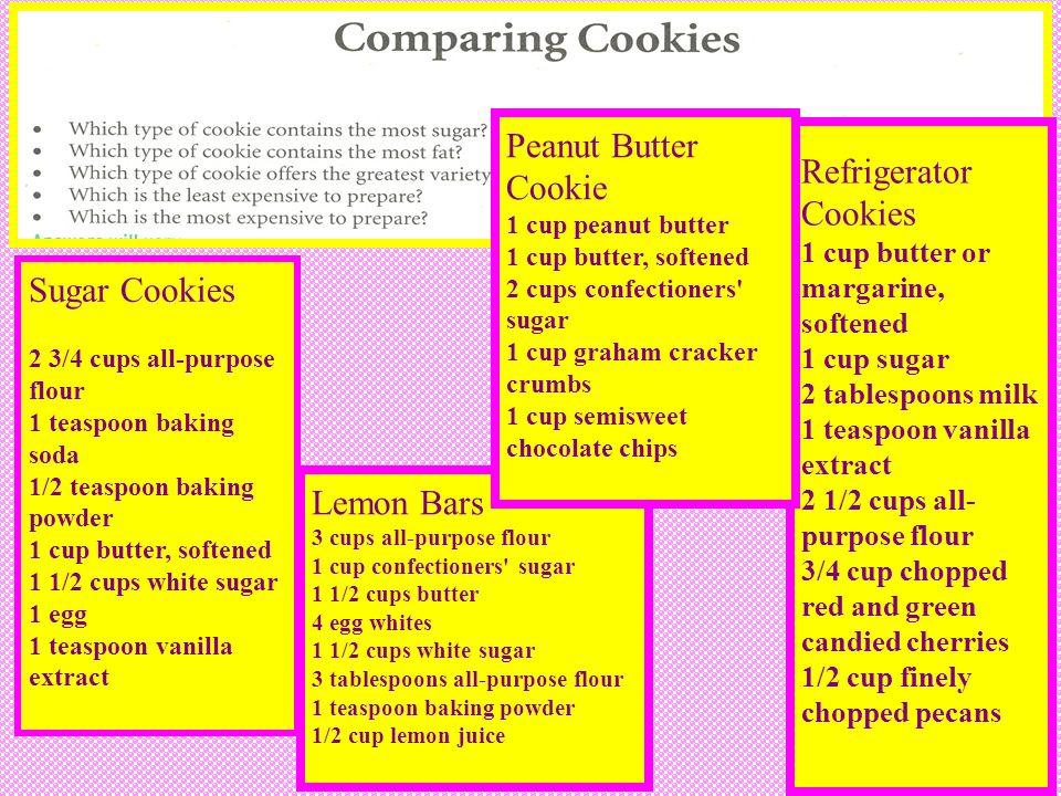 Peanut Butter Cookie Refrigerator Cookies Sugar Cookies Lemon Bars