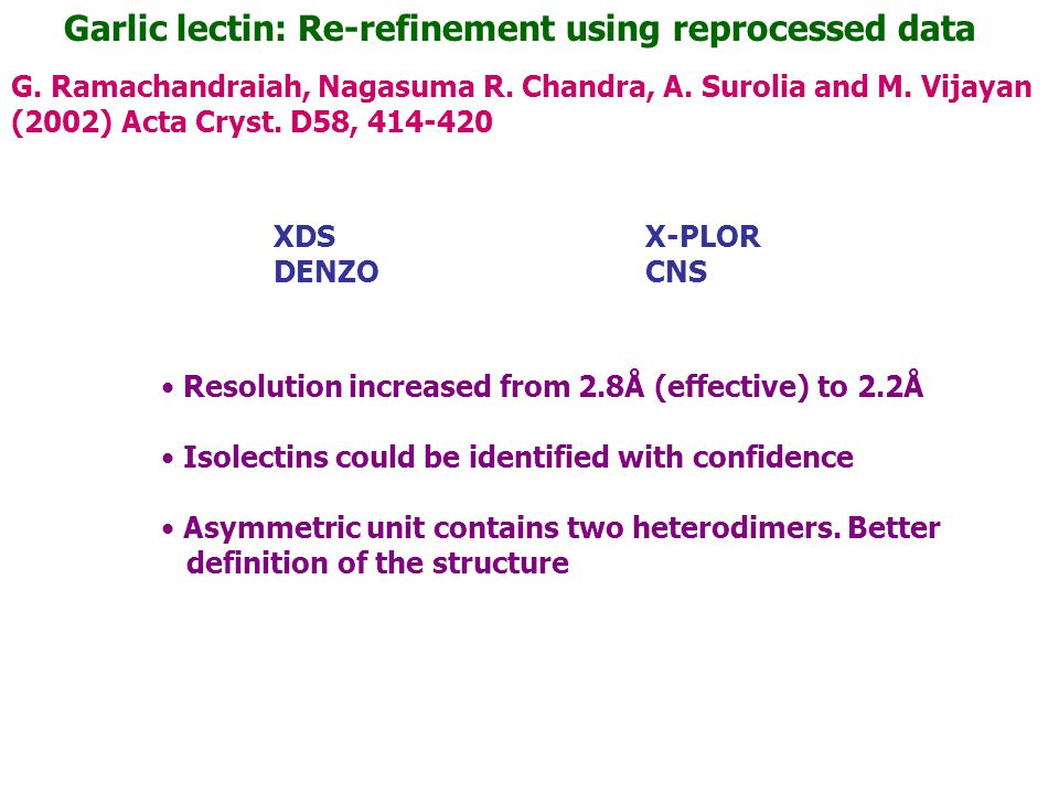 Garlic lectin: Re-refinement using reprocessed data