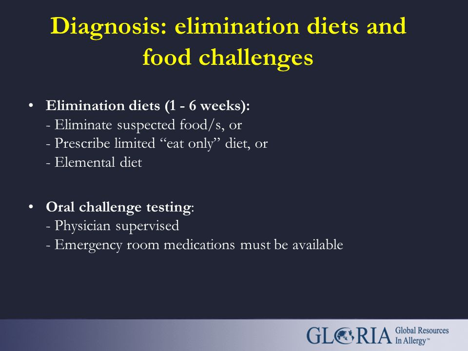 Diagnosis: elimination diets and food challenges