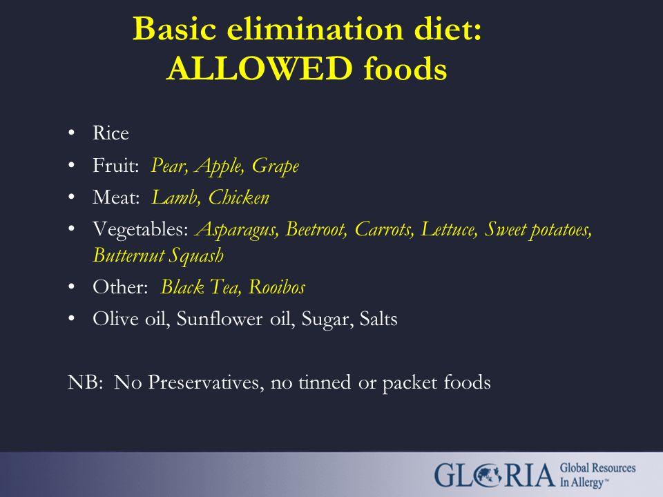 Basic elimination diet: ALLOWED foods