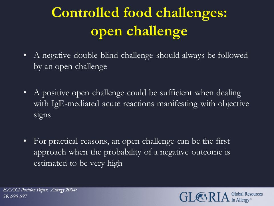 Controlled food challenges: open challenge