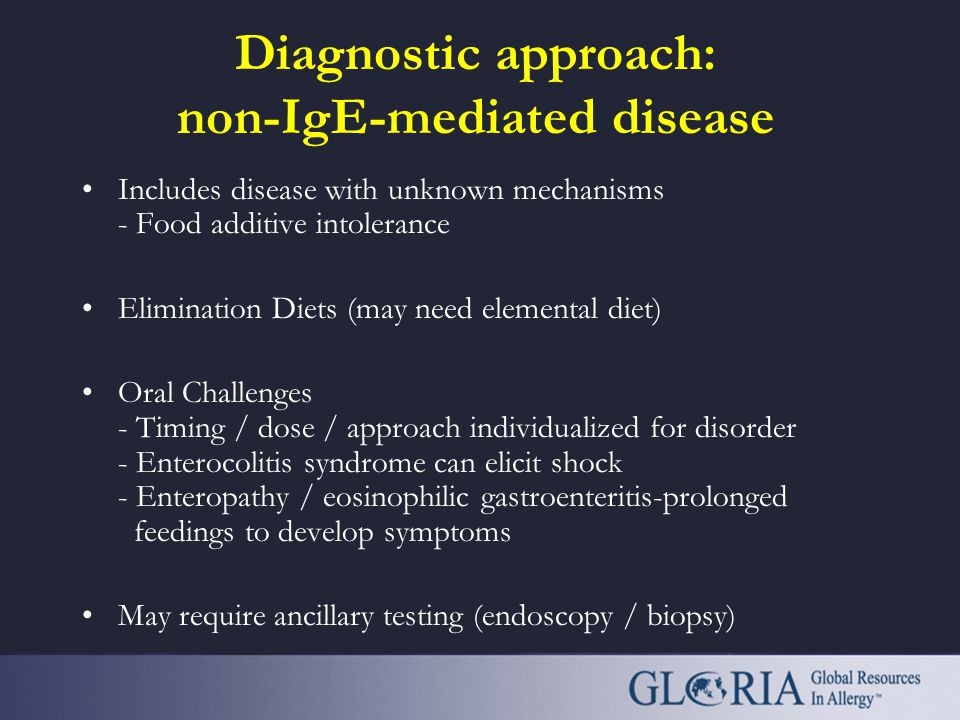 Diagnostic approach: non-IgE-mediated disease