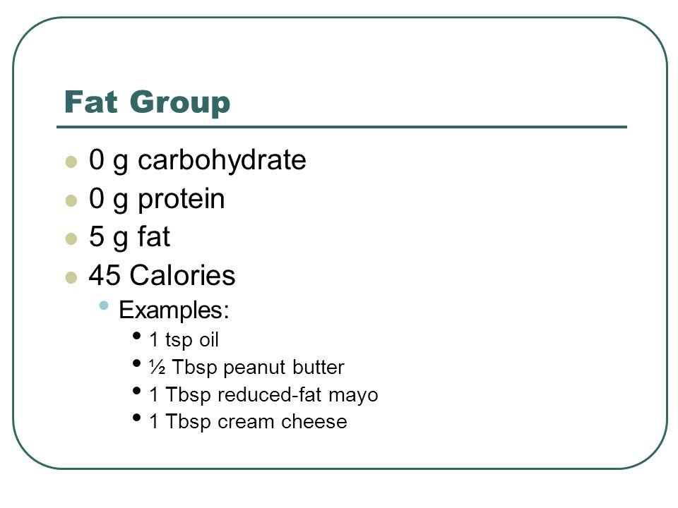 Fat Group 0 g carbohydrate 0 g protein 5 g fat 45 Calories Examples: