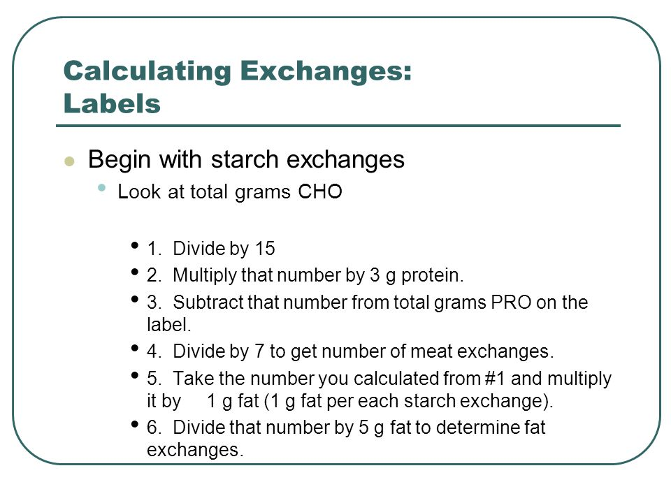 Calculating Exchanges: Labels