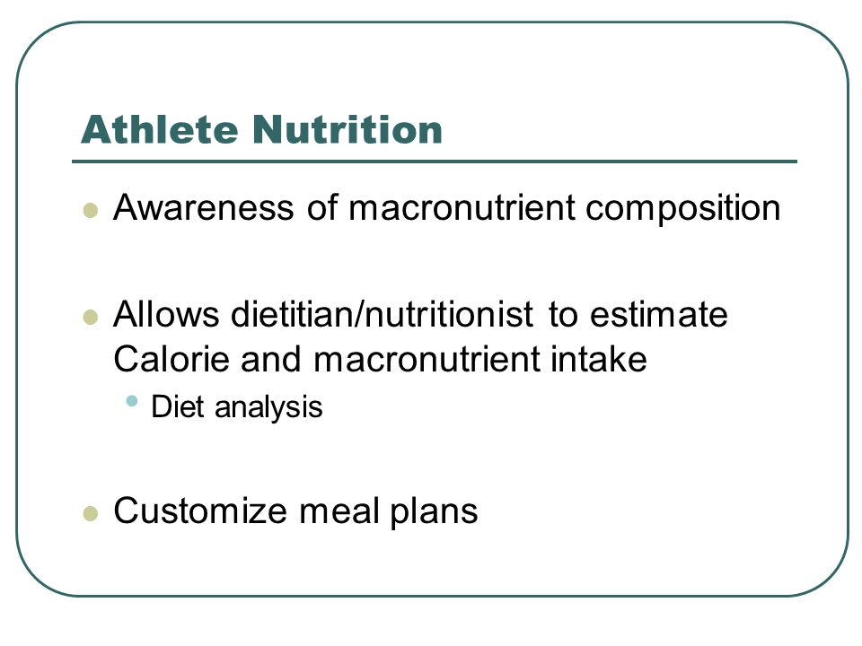Athlete Nutrition Awareness of macronutrient composition