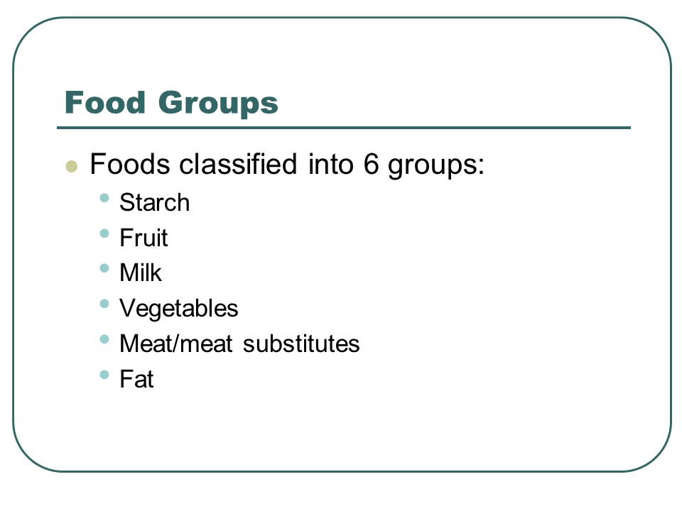 Food Groups Foods classified into 6 groups: Starch Fruit Milk