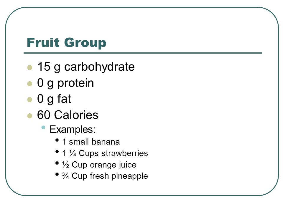 Fruit Group 15 g carbohydrate 0 g protein 0 g fat 60 Calories