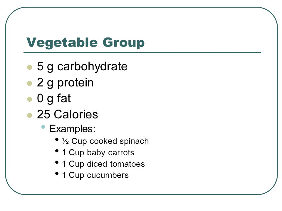 Vegetable Group 5 g carbohydrate 2 g protein 0 g fat 25 Calories