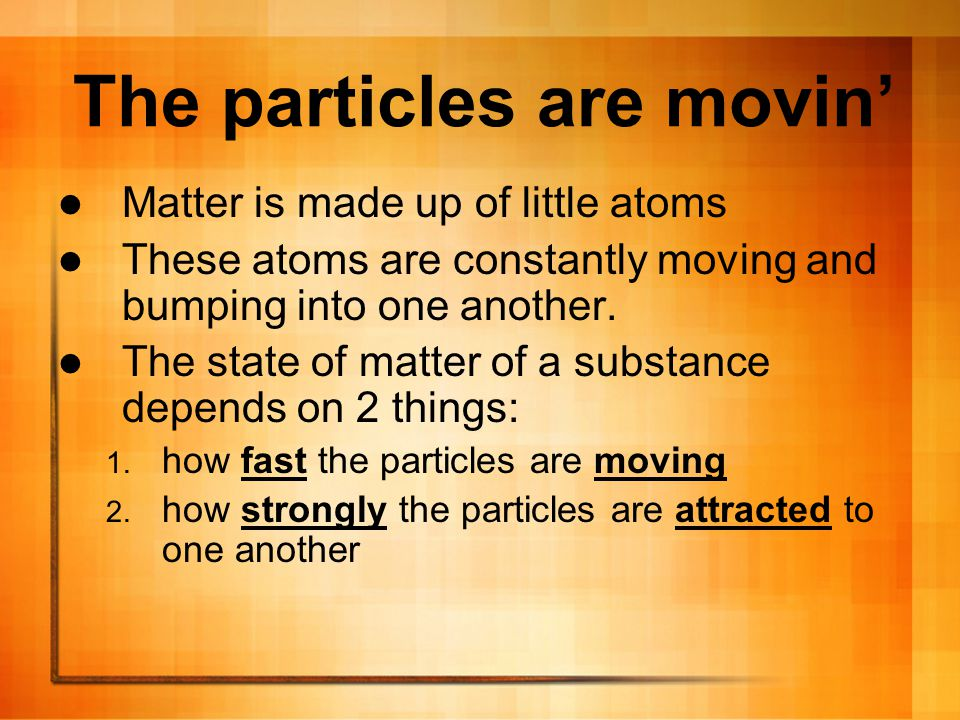 The particles are movin'