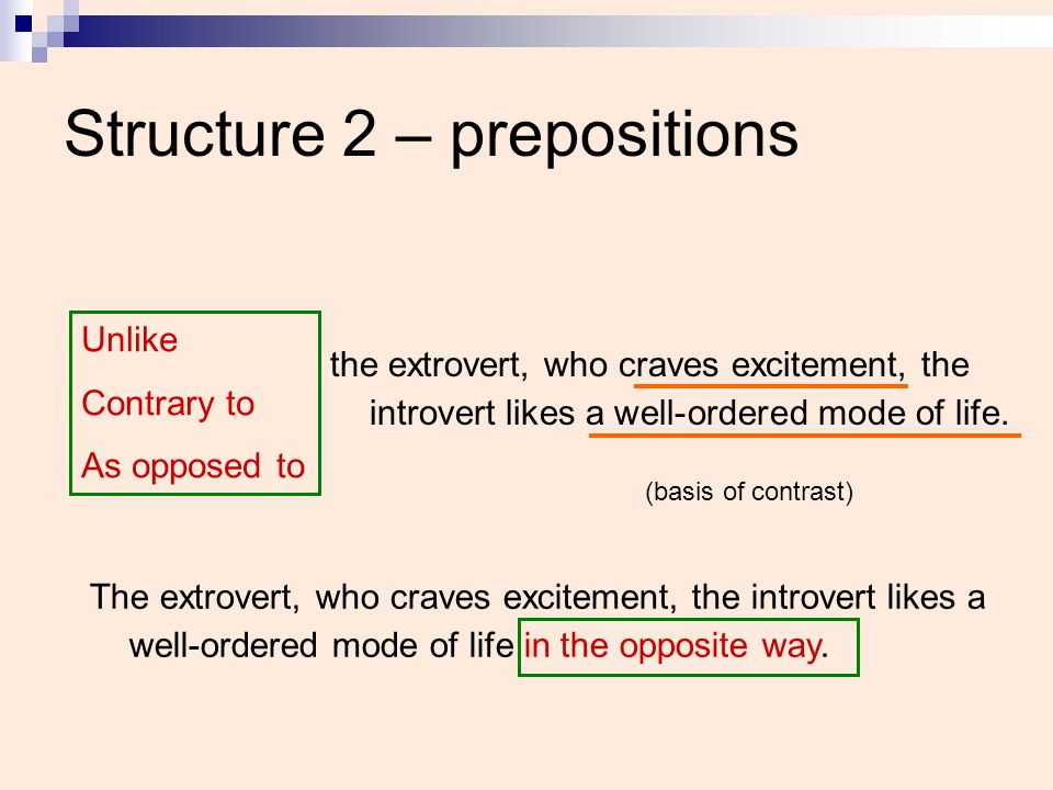Structure 2 – prepositions