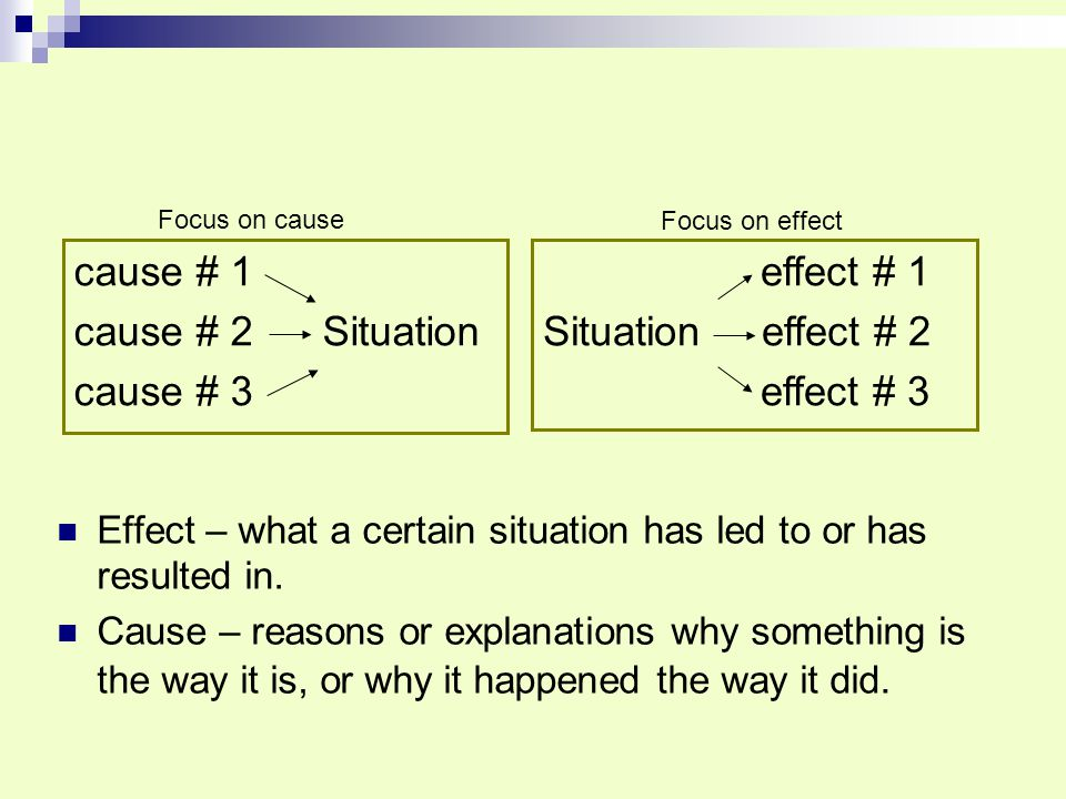 cause # 1 cause # 2 Situation cause # 3 effect # 1