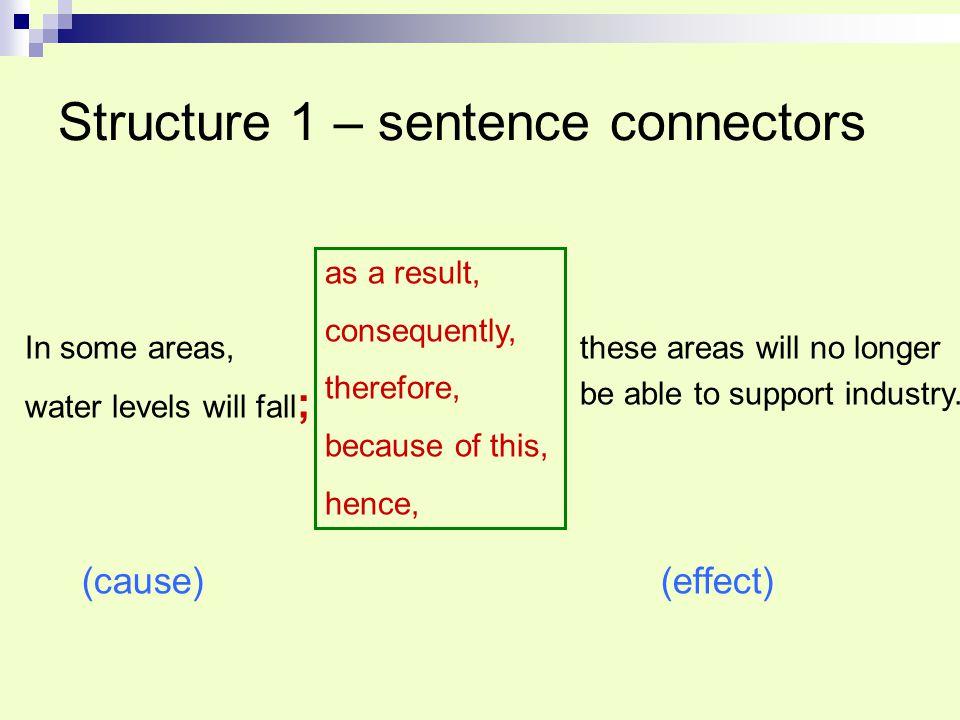 Structure 1 – sentence connectors