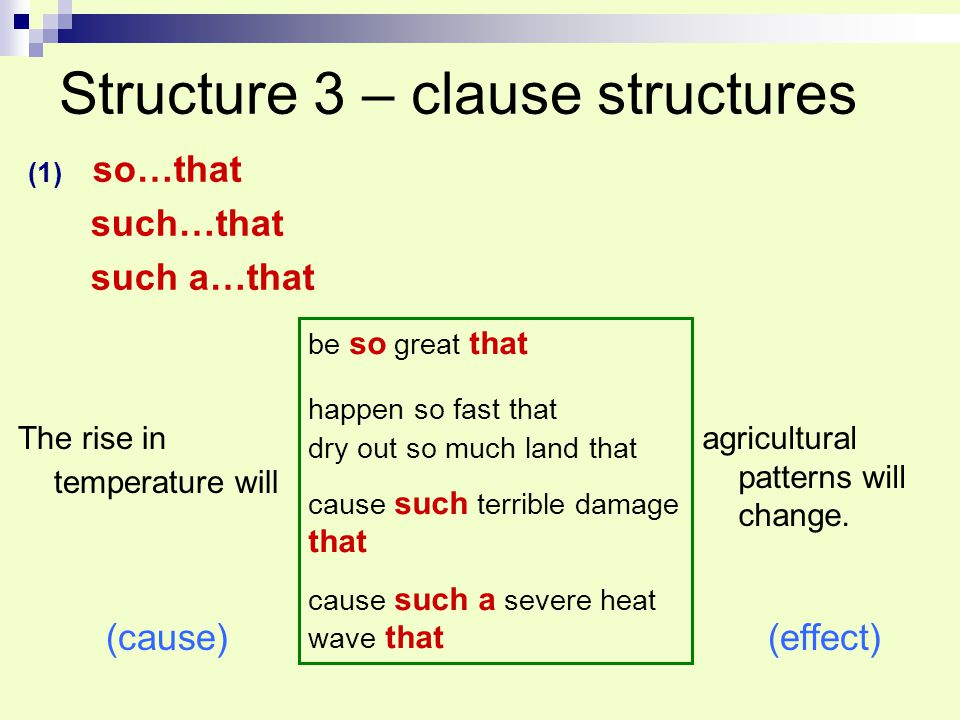 Structure 3 – clause structures
