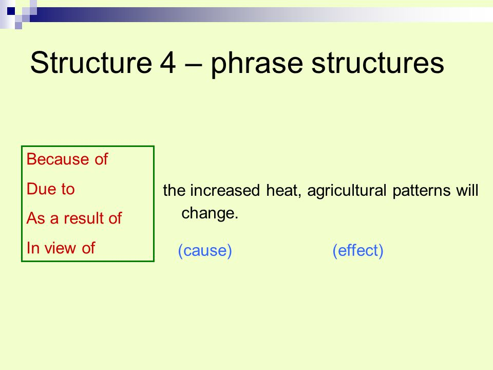 Structure 4 – phrase structures