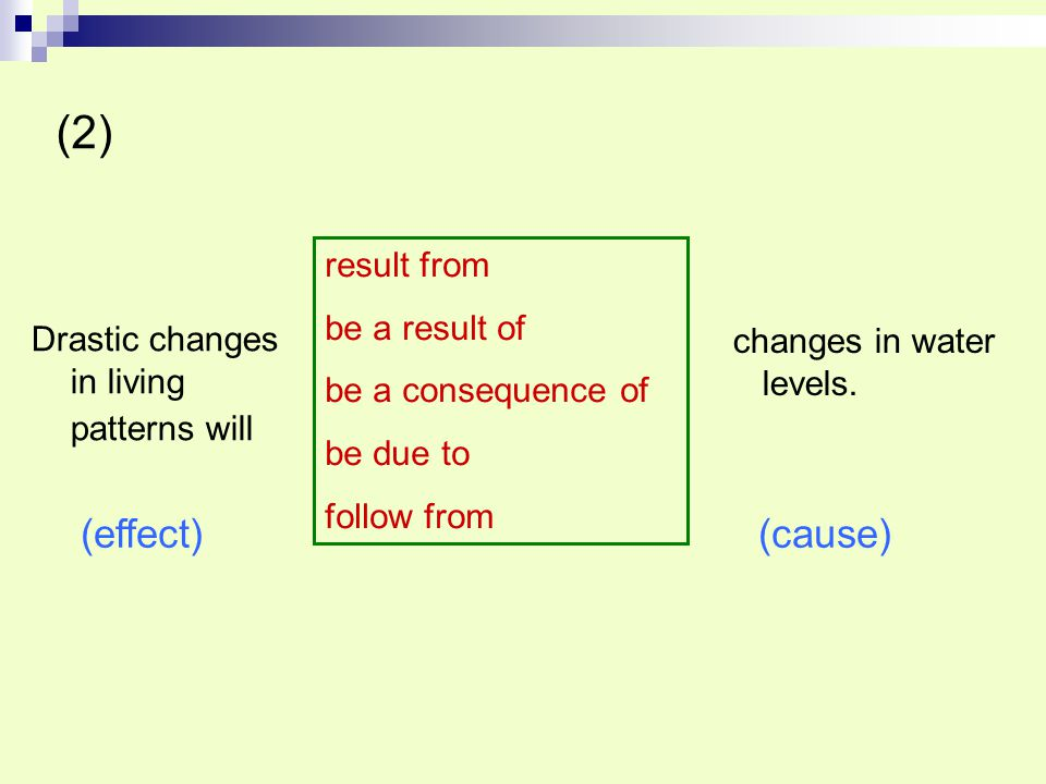 (2) (effect) (cause) result from be a result of be a consequence of