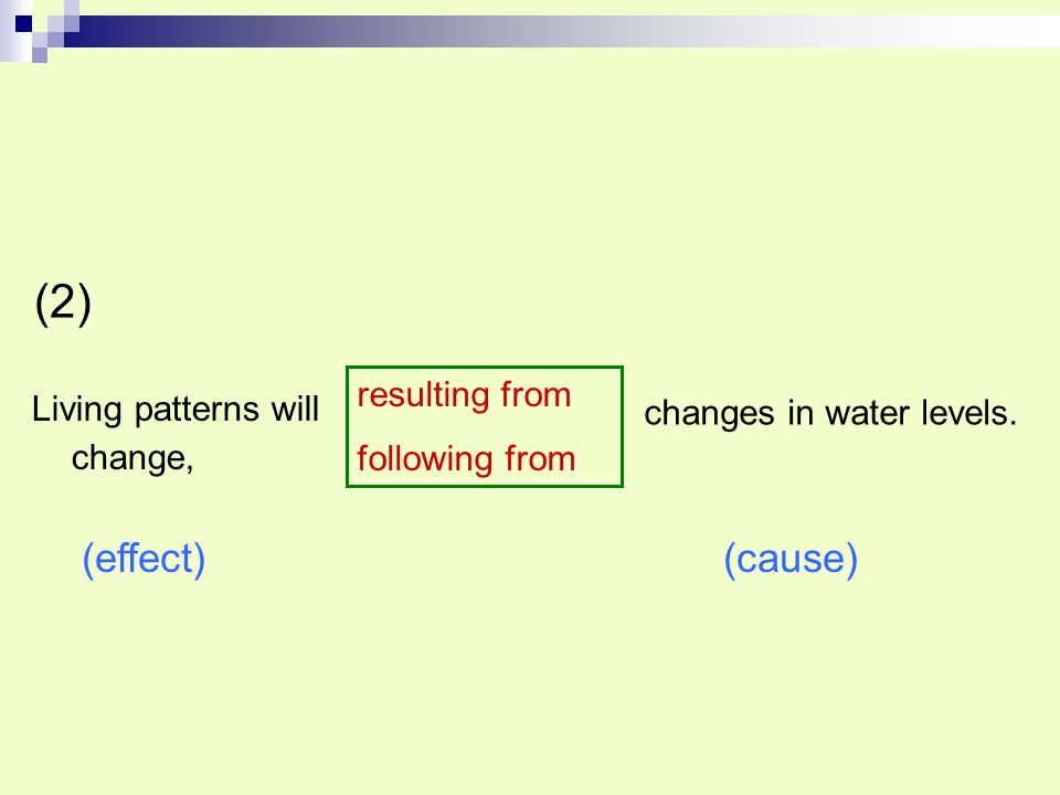 (2) (effect) (cause) resulting from Living patterns will change,