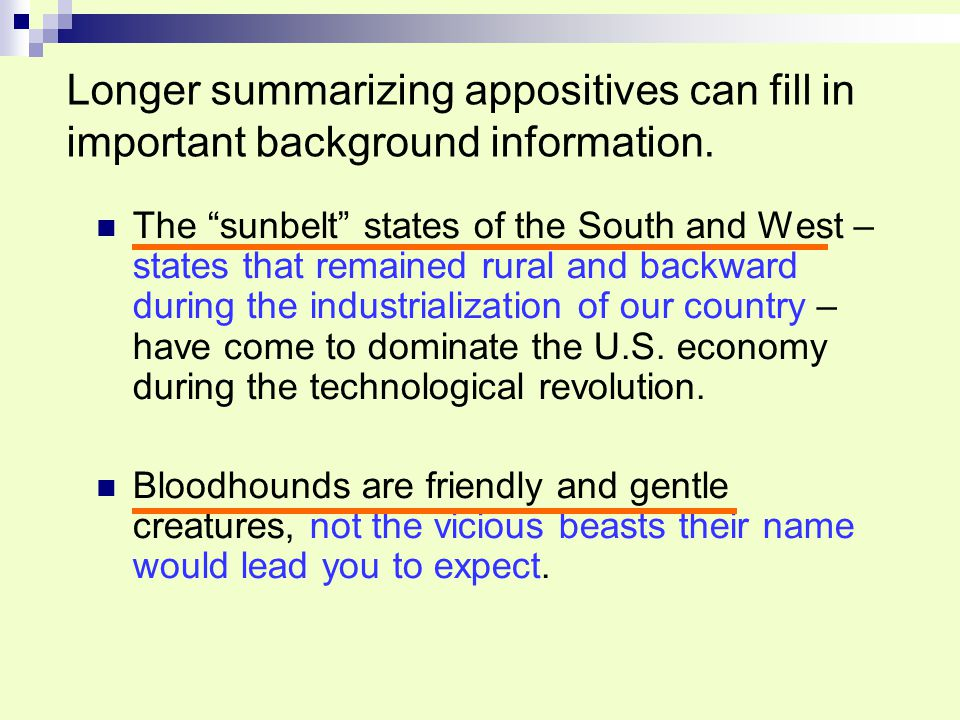 Longer summarizing appositives can fill in important background information.