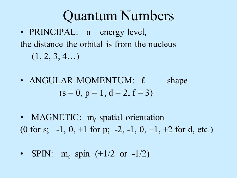 Quantum Numbers PRINCIPAL: n energy level,