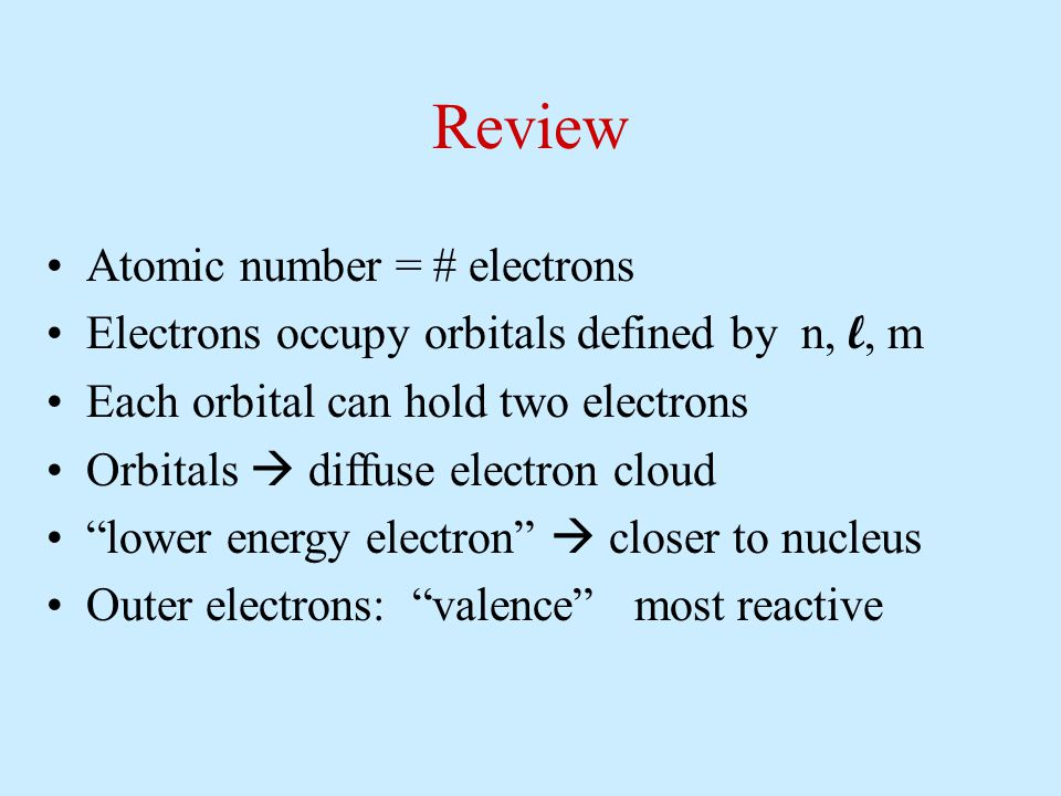 Review Atomic number = # electrons