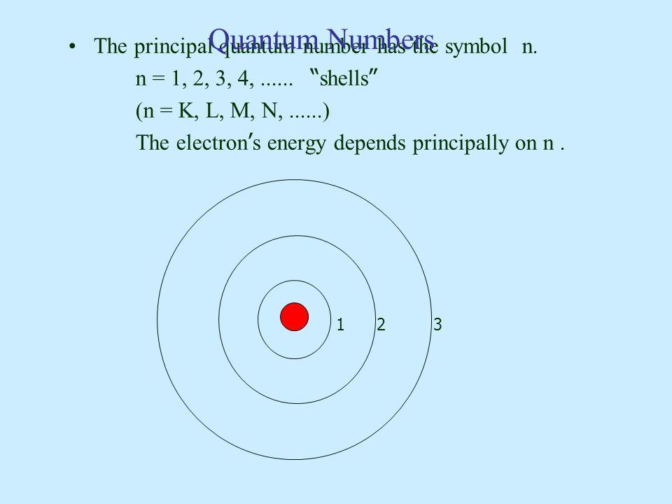 Quantum Numbers The principal quantum number has the symbol n.
