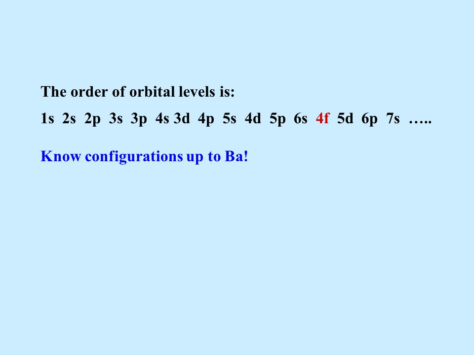 The order of orbital levels is:
