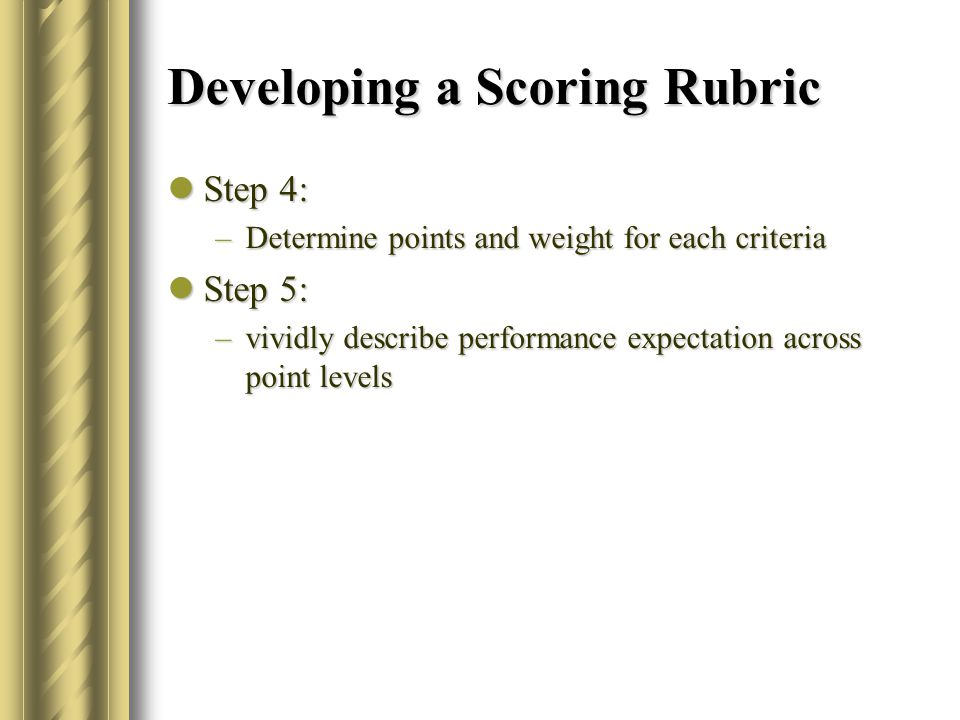 Developing a Scoring Rubric