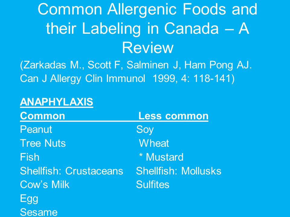 Common Allergenic Foods and their Labeling in Canada – A Review