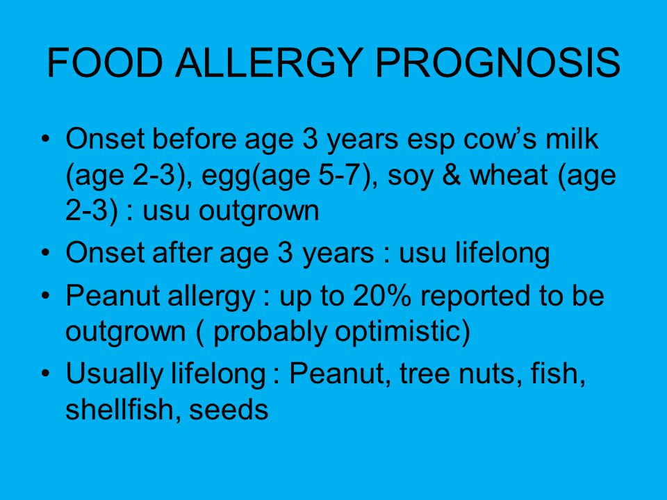 FOOD ALLERGY PROGNOSIS