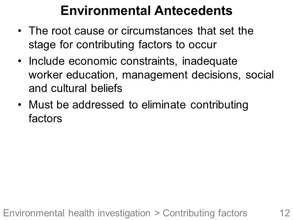 Environmental Antecedents