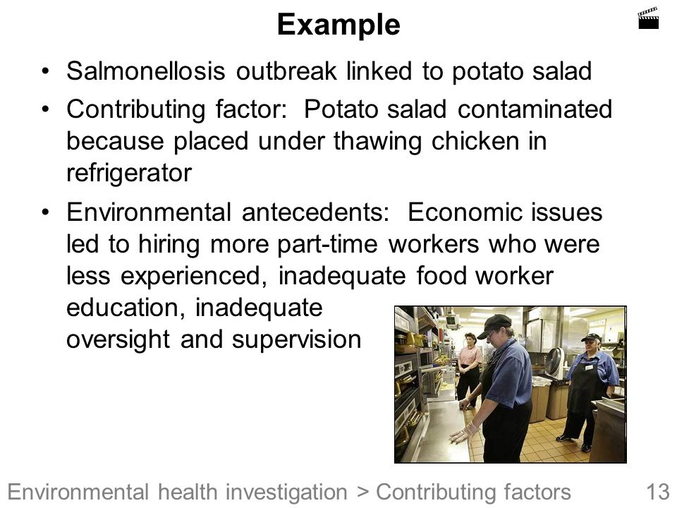  Example Salmonellosis outbreak linked to potato salad
