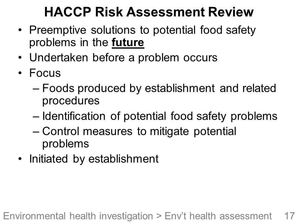 HACCP Risk Assessment Review