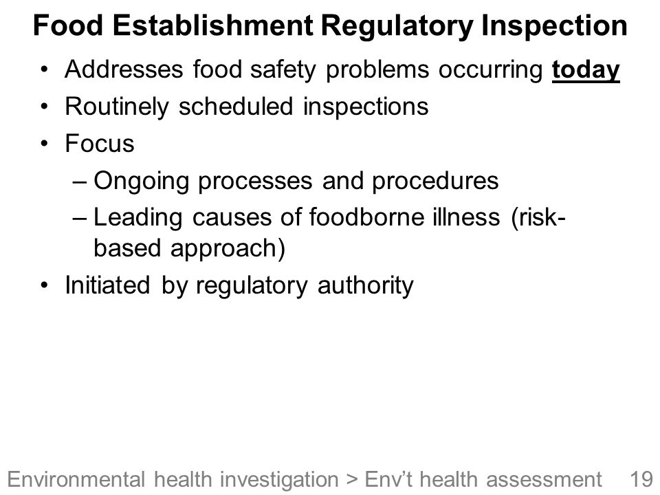 Food Establishment Regulatory Inspection