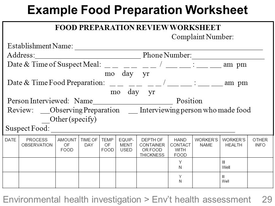 Example Food Preparation Worksheet
