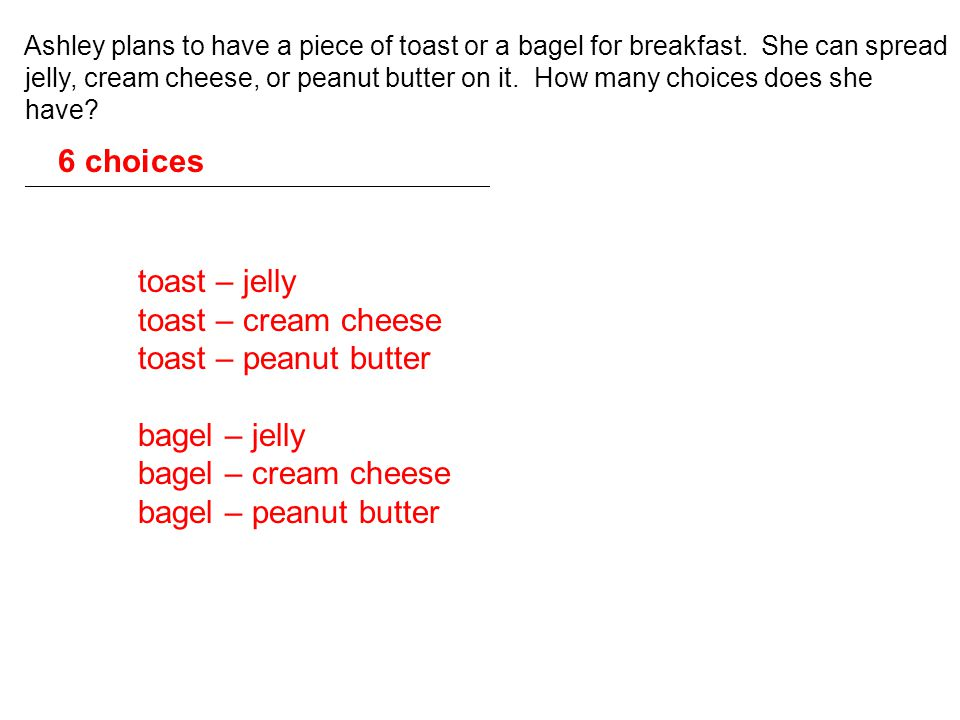 6 choices toast – jelly toast – cream cheese toast – peanut butter