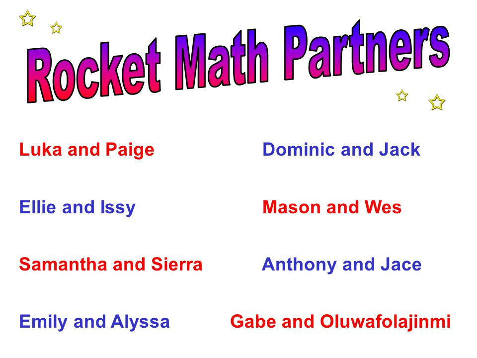 Rocket Math Partners Luka and Paige Dominic and Jack