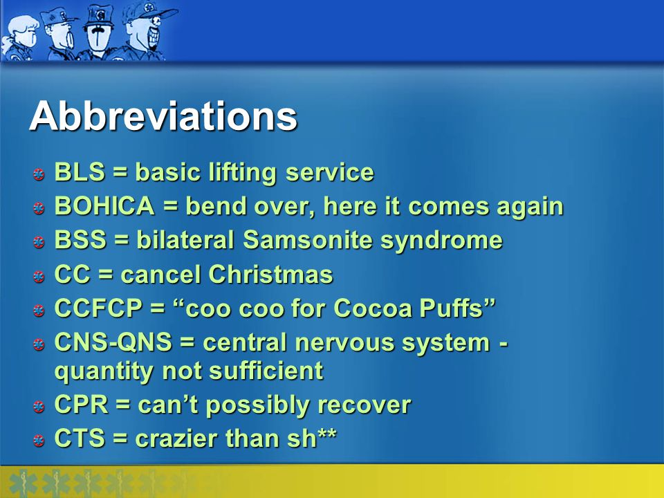 Abbreviations BLS = basic lifting service