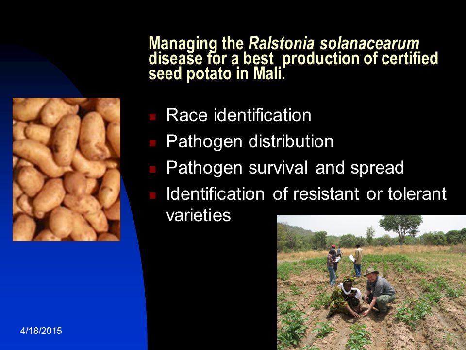 Pathogen distribution Pathogen survival and spread