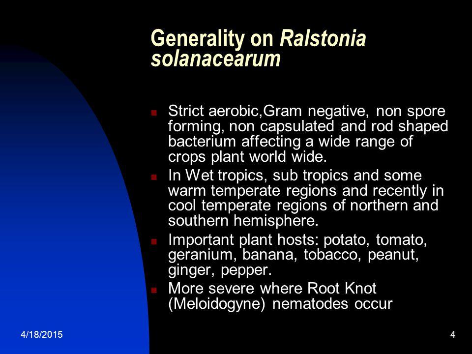 Generality on Ralstonia solanacearum