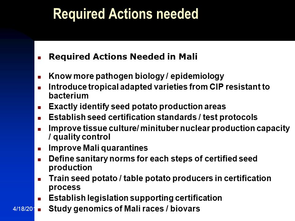 Required Actions needed