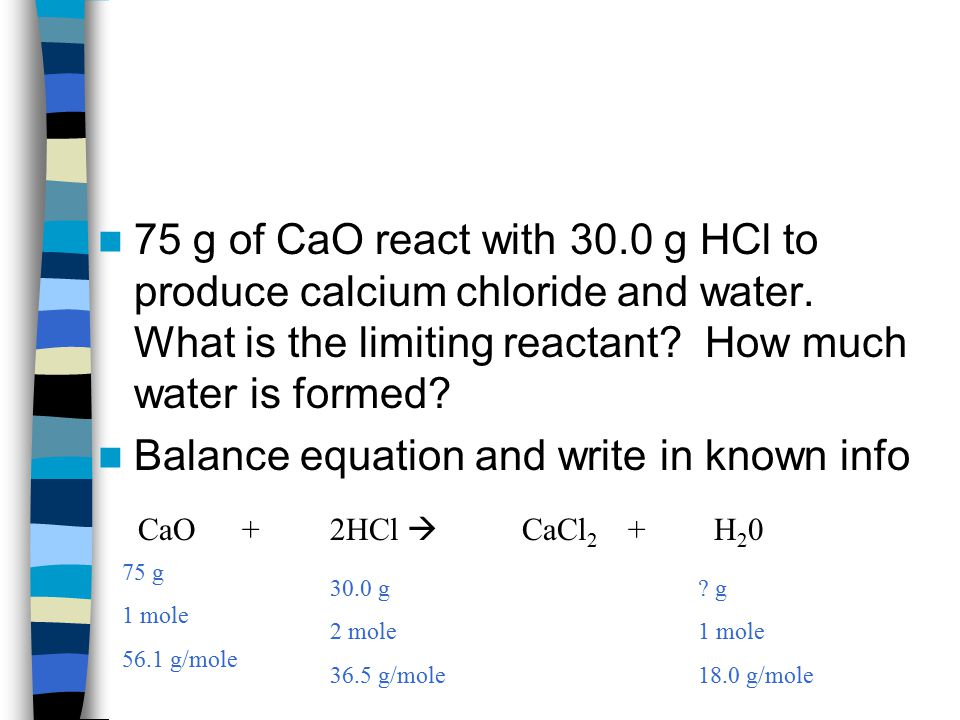 Balance equation and write in known info