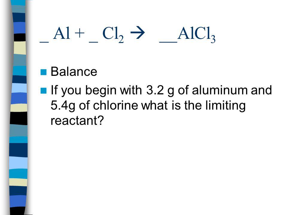 _ Al + _ Cl2  __AlCl3 Balance