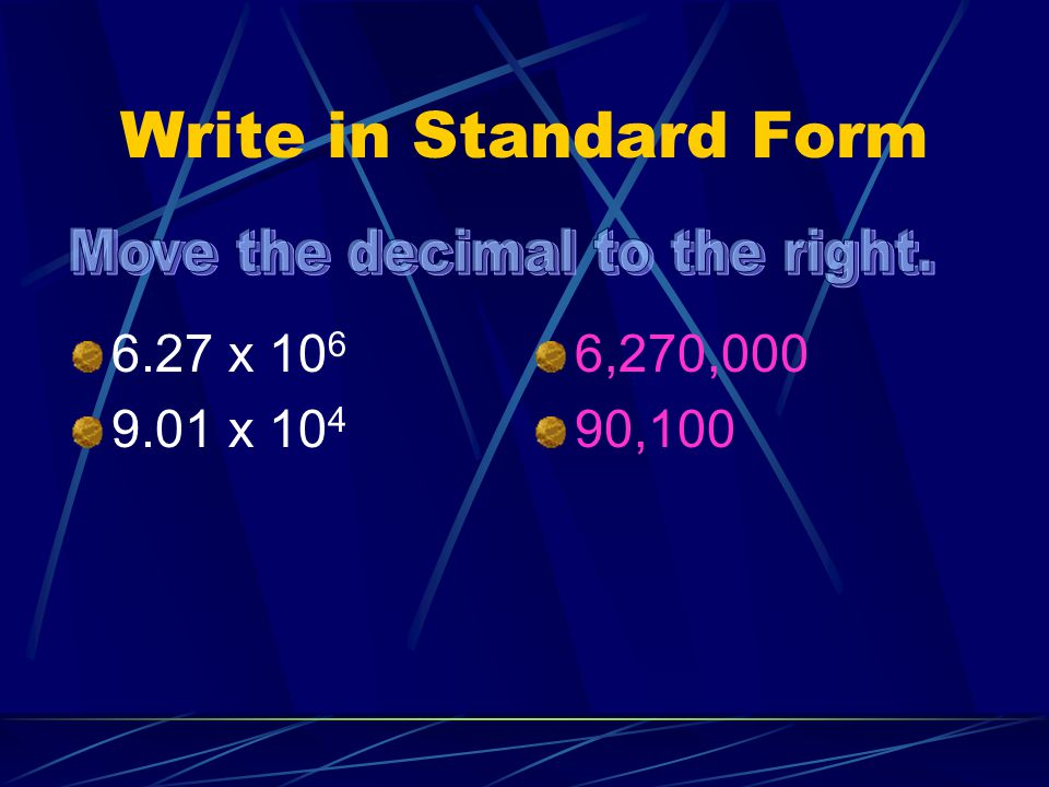 Move the decimal to the right.