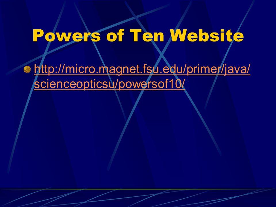 Powers of Ten Website http://micro.magnet.fsu.edu/primer/java/scienceopticsu/powersof10/
