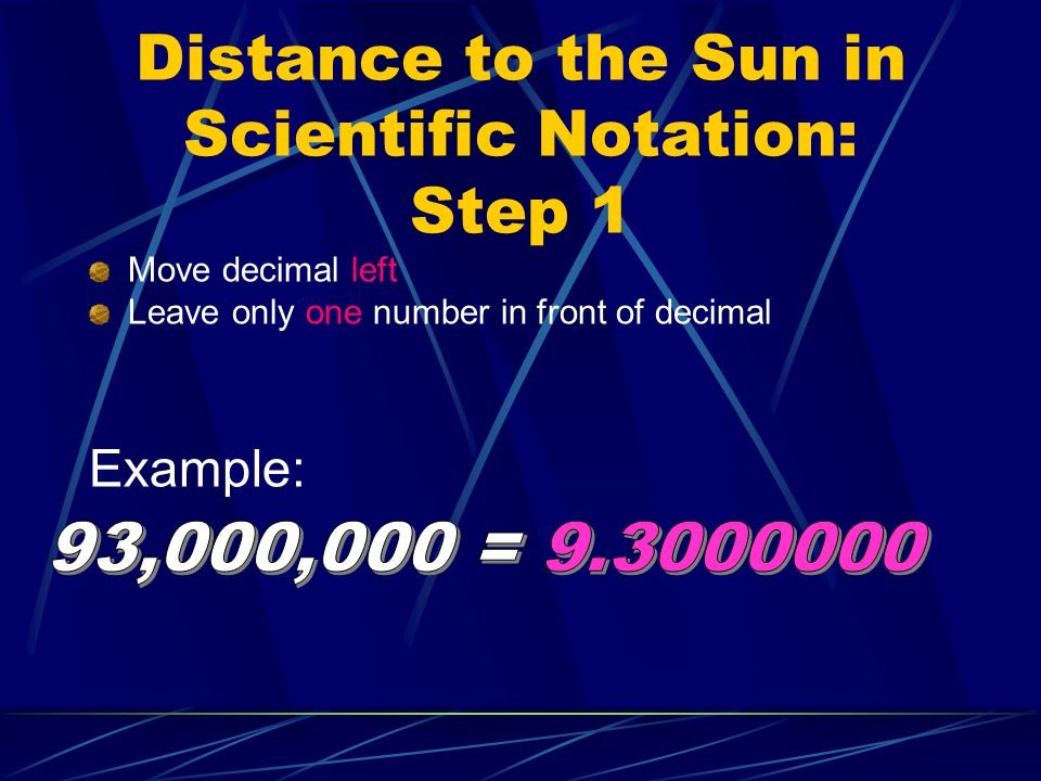 Distance to the Sun in Scientific Notation: Step 1