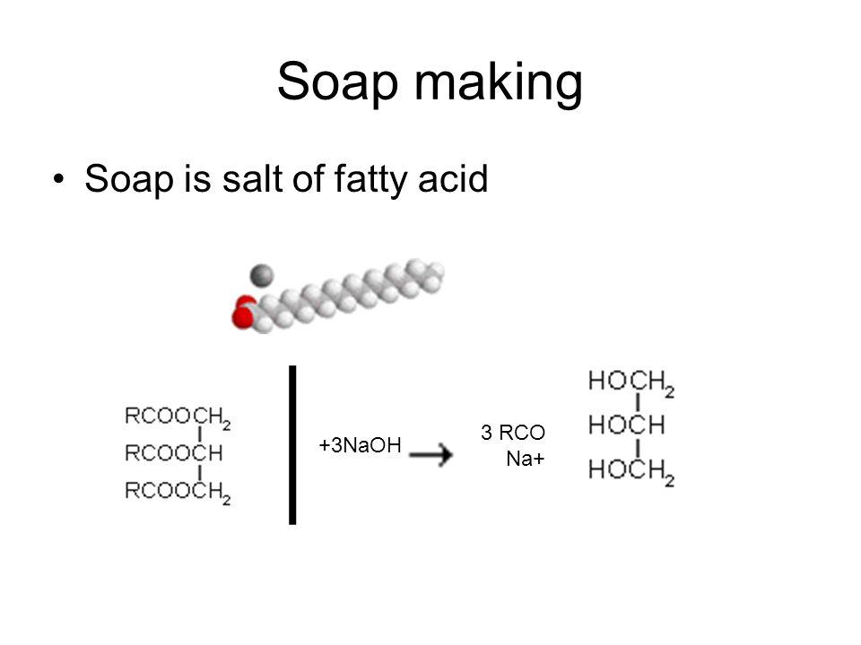 Soap making Soap is salt of fatty acid. +3NaOH