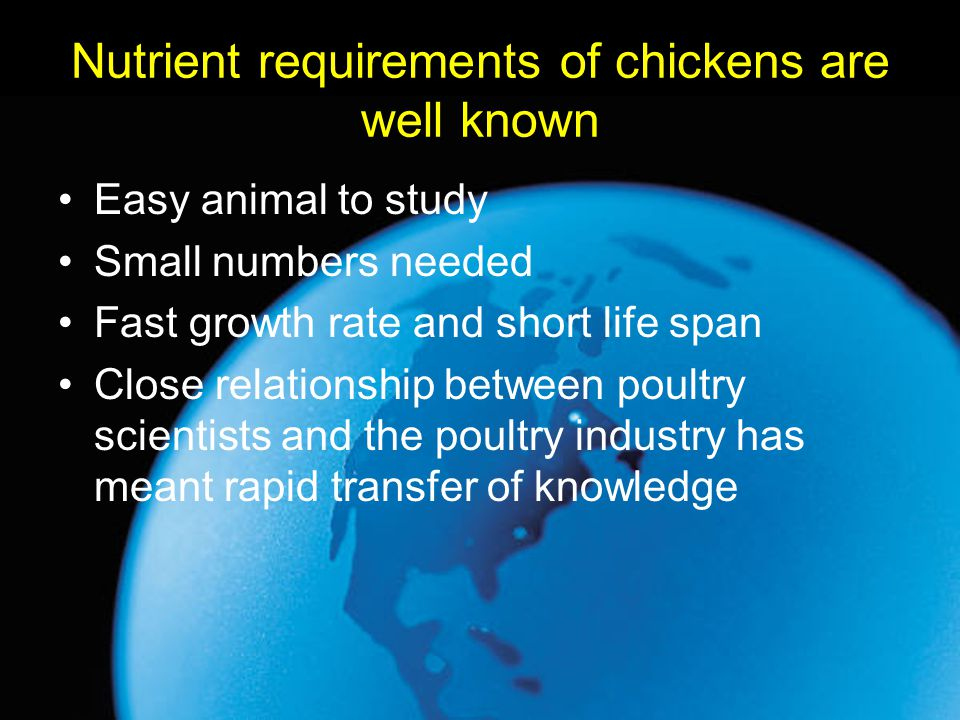 Nutrient requirements of chickens are well known