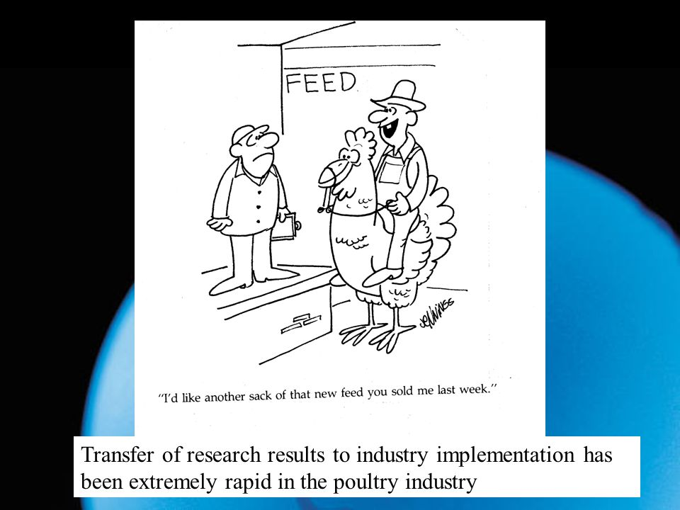 Request for new feed Transfer of research results to industry implementation has been extremely rapid in the poultry industry.